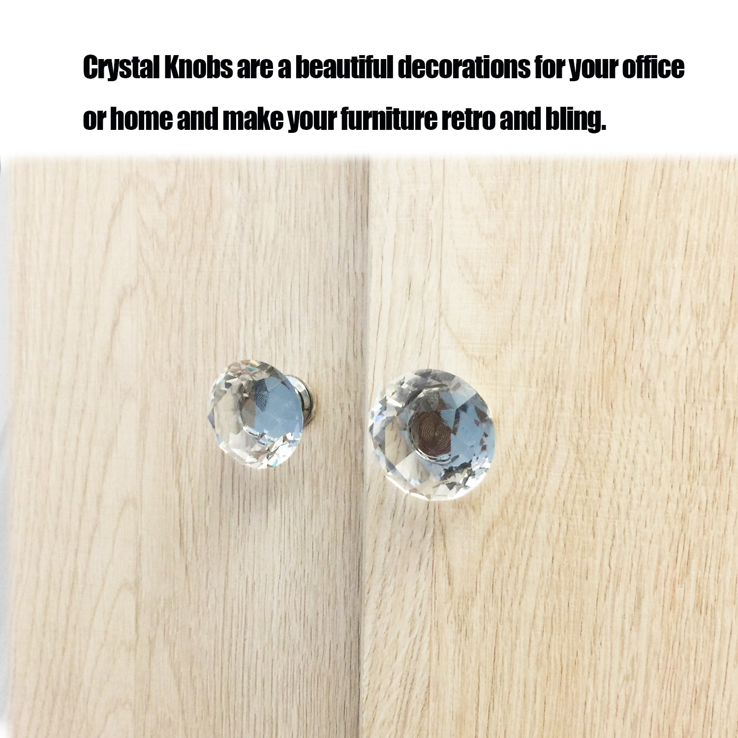 Dresser Crystal Knobs - 30MM 25 PCS Glass Crystal Drawer Knobs Pulls Cabinet Handle for Home Kitchen Wardrobe Cupboard by LanGui (Image #3)