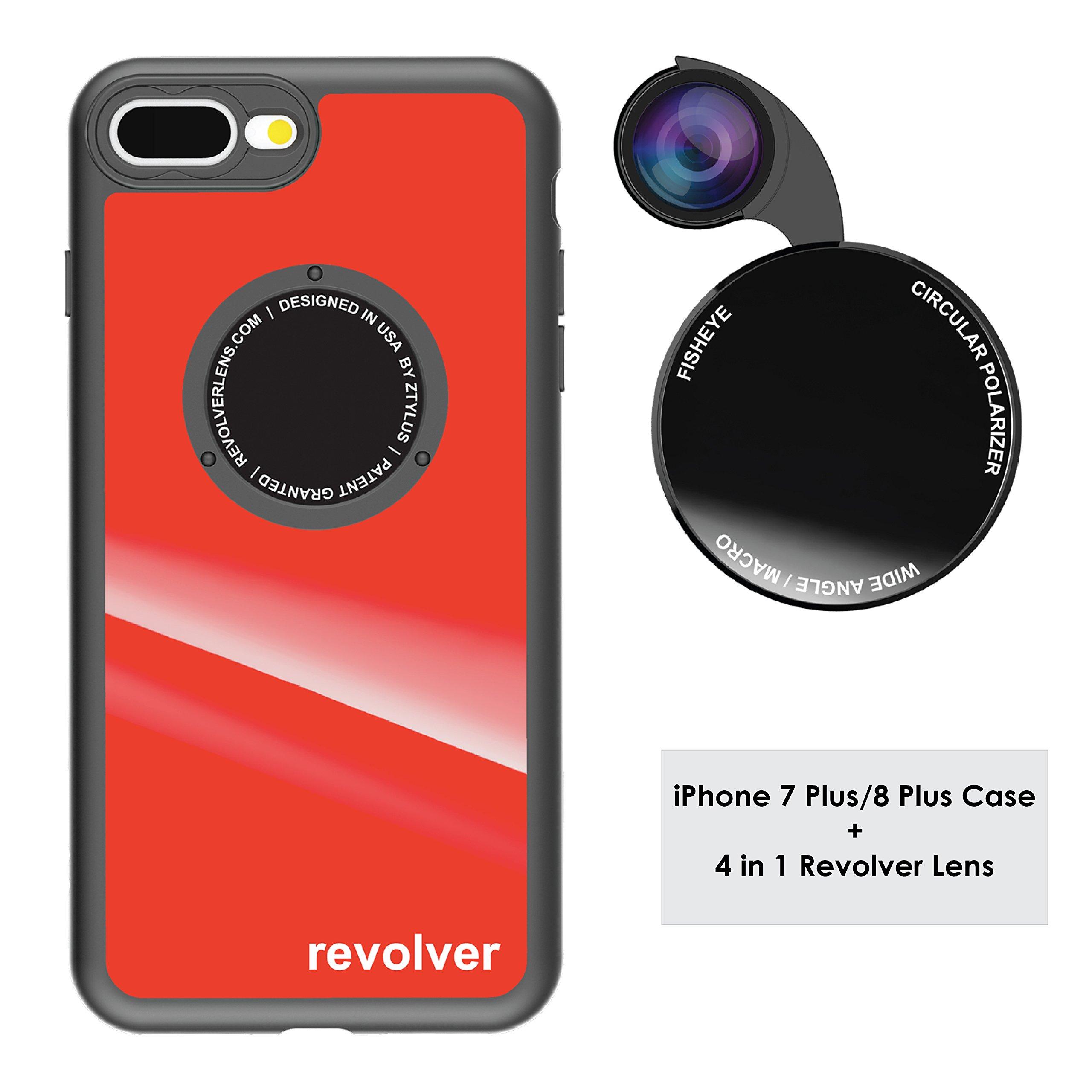 Funda y 4  Lentes Ztylus Revolver p/ iPhone 7/8 Plus - Red..