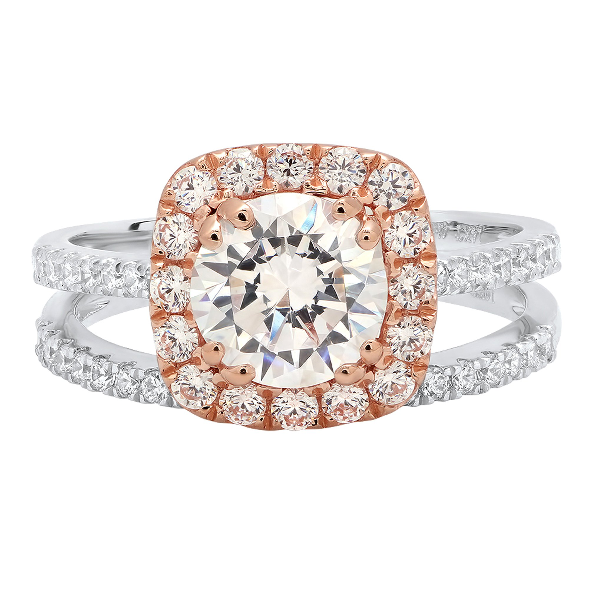 2.35 CT Round Brilliant Cut Simulated Diamond CZ Designer Solitaire Pave Halo Ring band set Solid 14k White and Rose Multi Tone Gold by Clara Pucci (Image #1)