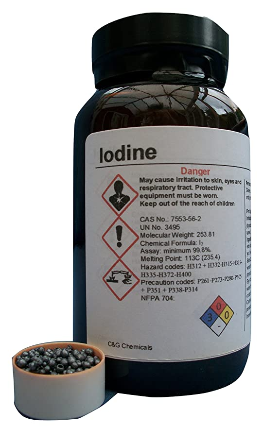 50 g Elemental Grade High Rurity 99,8/% Pure Jod Prilled Kristalle BP//USP Grade Labor Experiment COD
