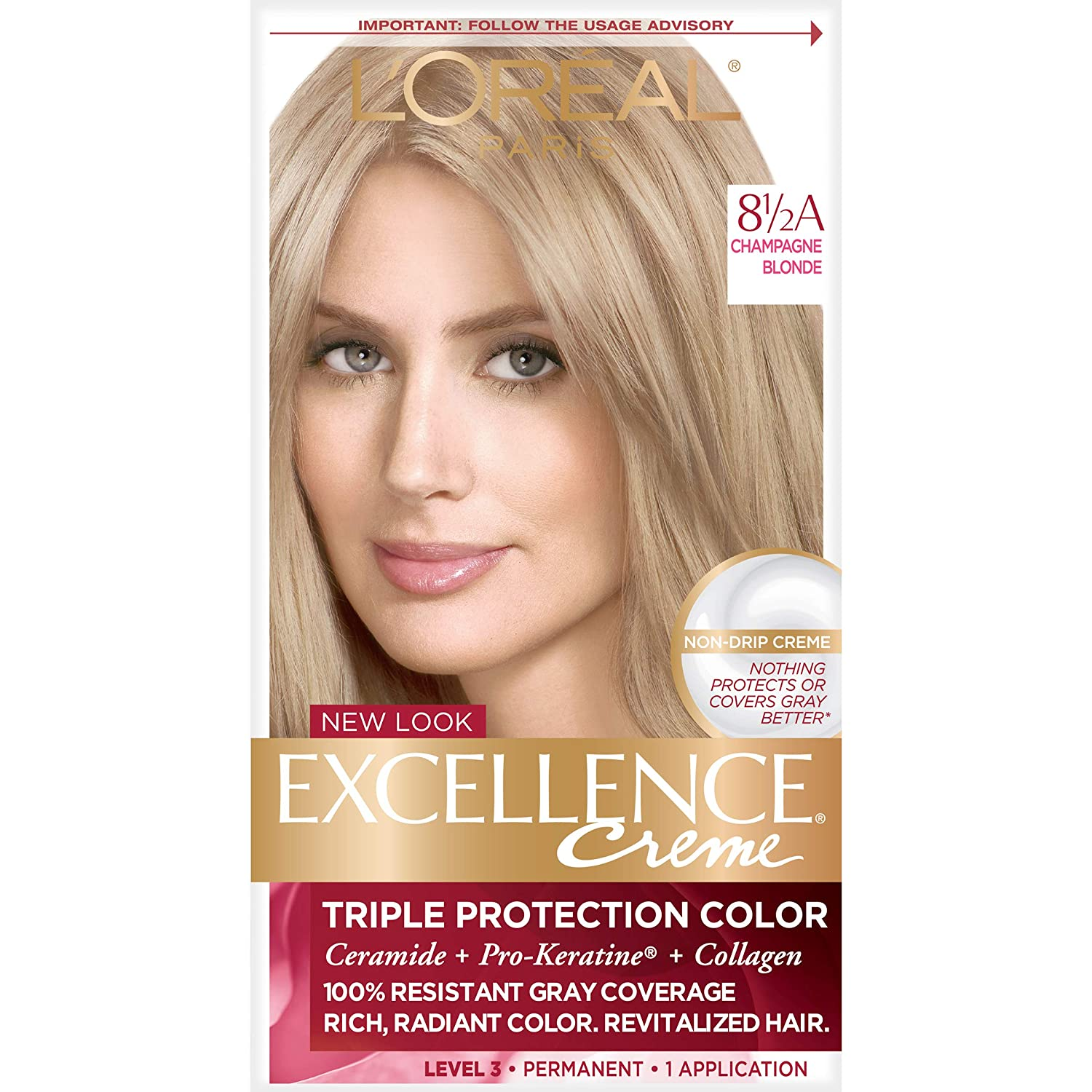 L'Oreal Paris Excellence Creme Permanent Hair Color, 8.5A Champagne Blonde, 100% Gray Coverage Hair Dye, Pack of 1 : Chemical Hair Dyes : Beauty