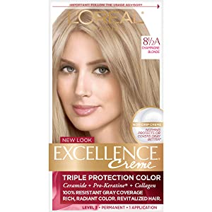 L'Oreal Paris Excellence Creme Permanent Hair Color, 8.5A Champagne Blonde, Pack of 1 100% Gray Coverage Hair Dye