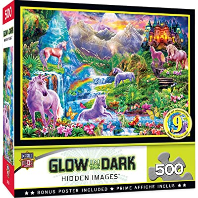 MasterPieces Hidden Images Glow - Unicorns Retreat 500-Piece Jigsaw Puzzle: Toys & Games