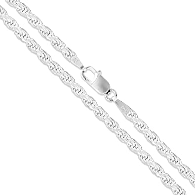 """060 3.0mm 16/"""" 30/"""" 925 solid sterling silver rope chain necklace diamond cut 20/"""""""