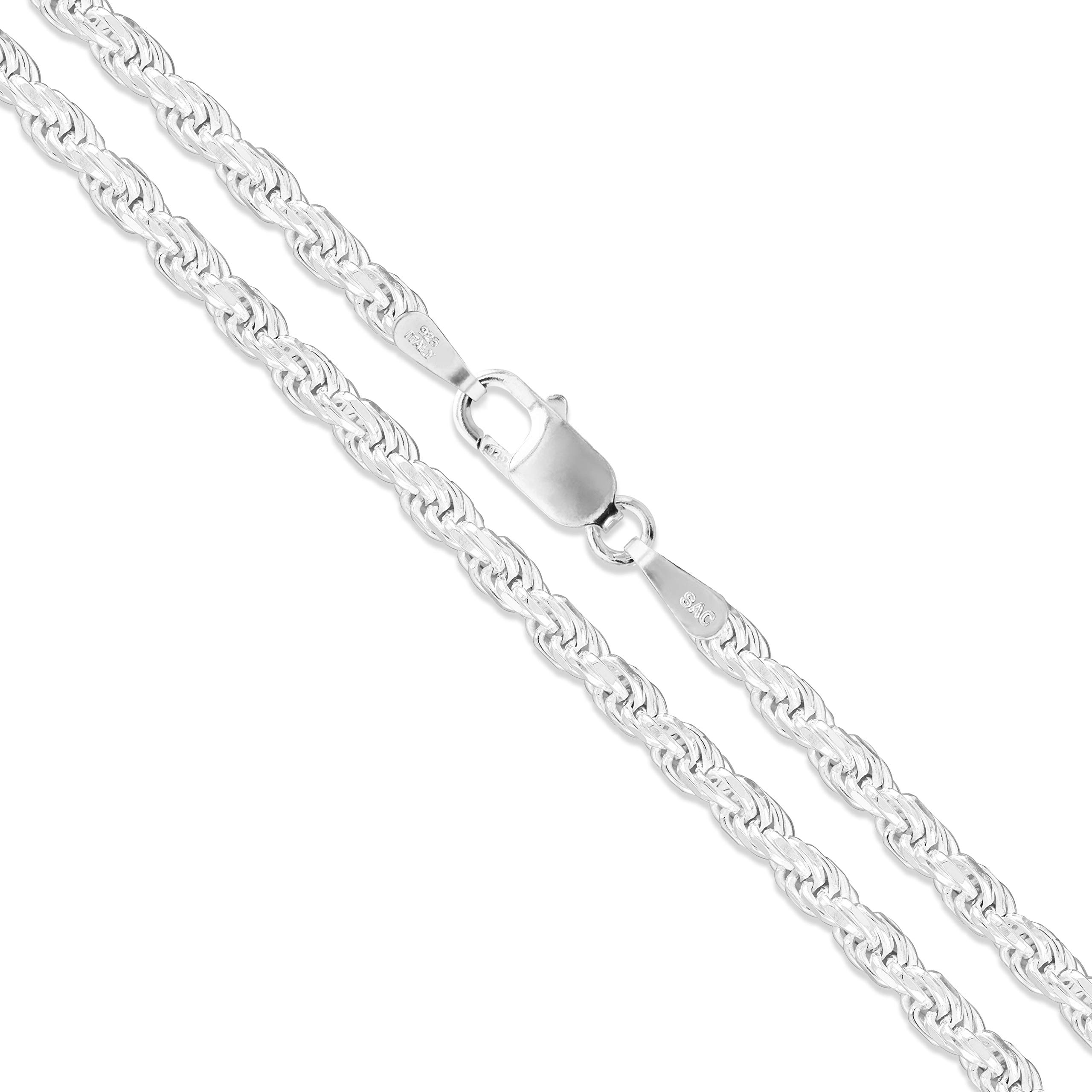 925 Sterling Silver 4.7mm Diamond-cut Rope Chain Necklace 7-30