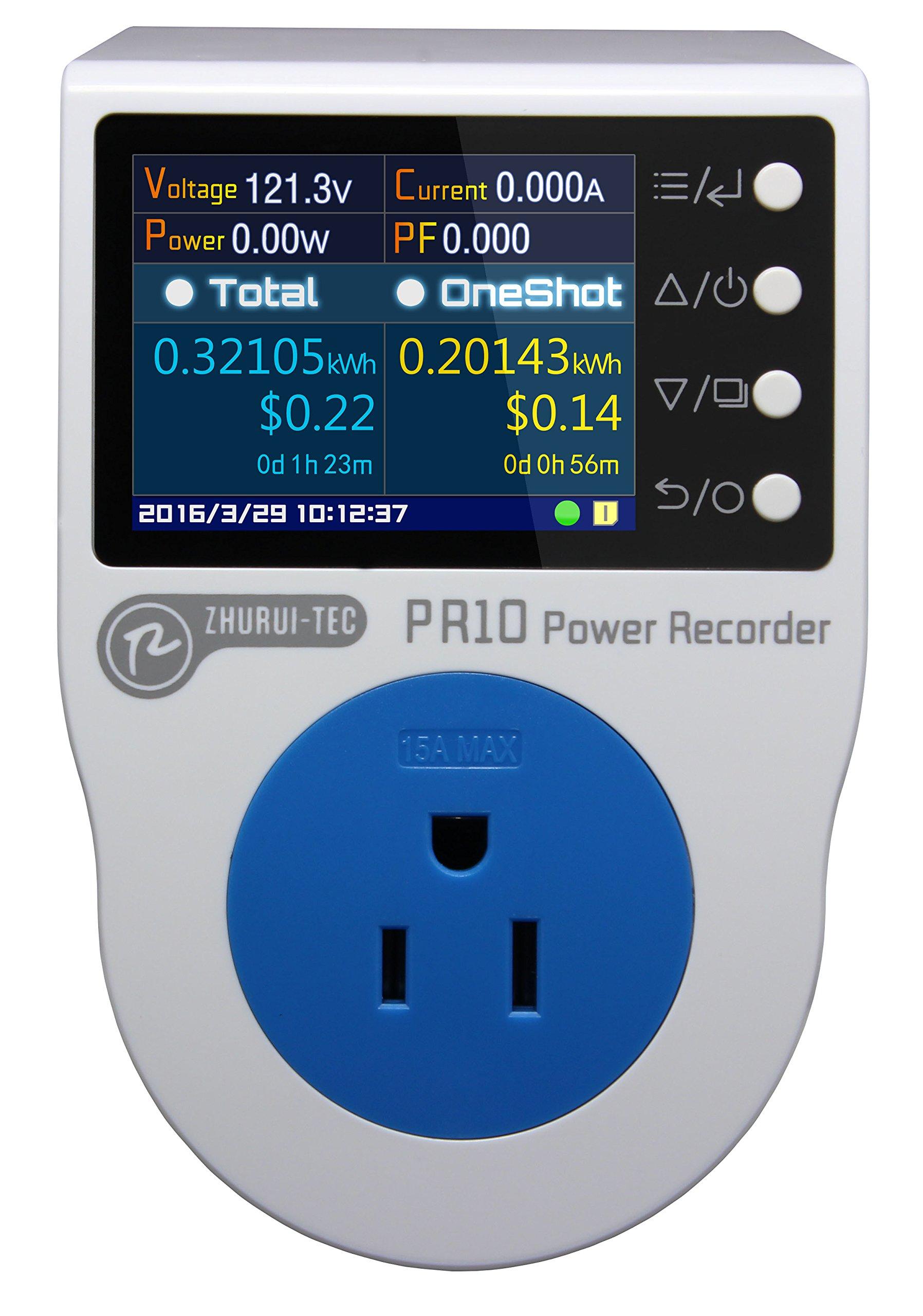 PR10-E US15A Plug Power Meter Energy Voltage Amps Electricity Monitor Analyzer