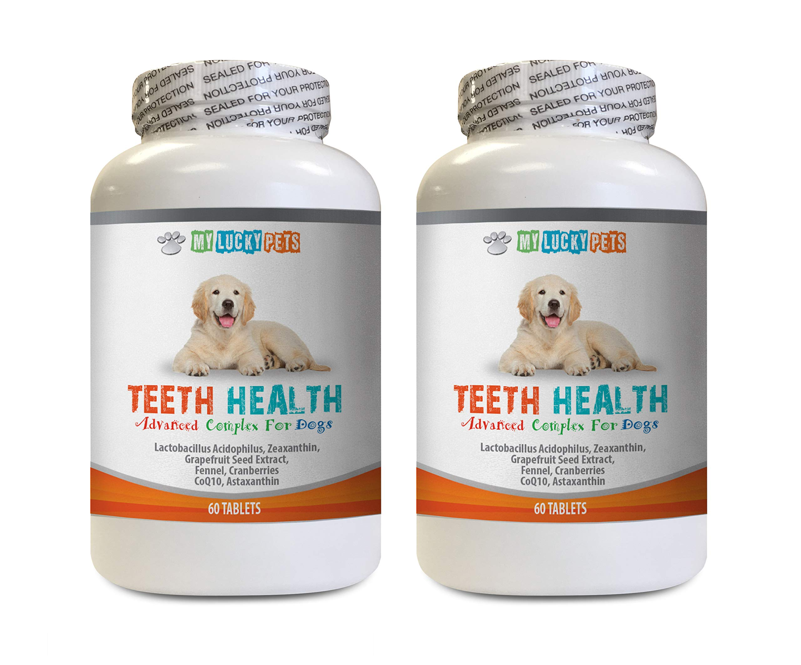 MY LUCKY PETS LLC Dog Breath Tablets - Advanced Teeth Health for Dogs - Fights Bad Breath - Best Looking Gums and Teeth - Grapefruit Seed Extract for Dogs - 120 Tablets (2 Bottles) by MY LUCKY PETS LLC