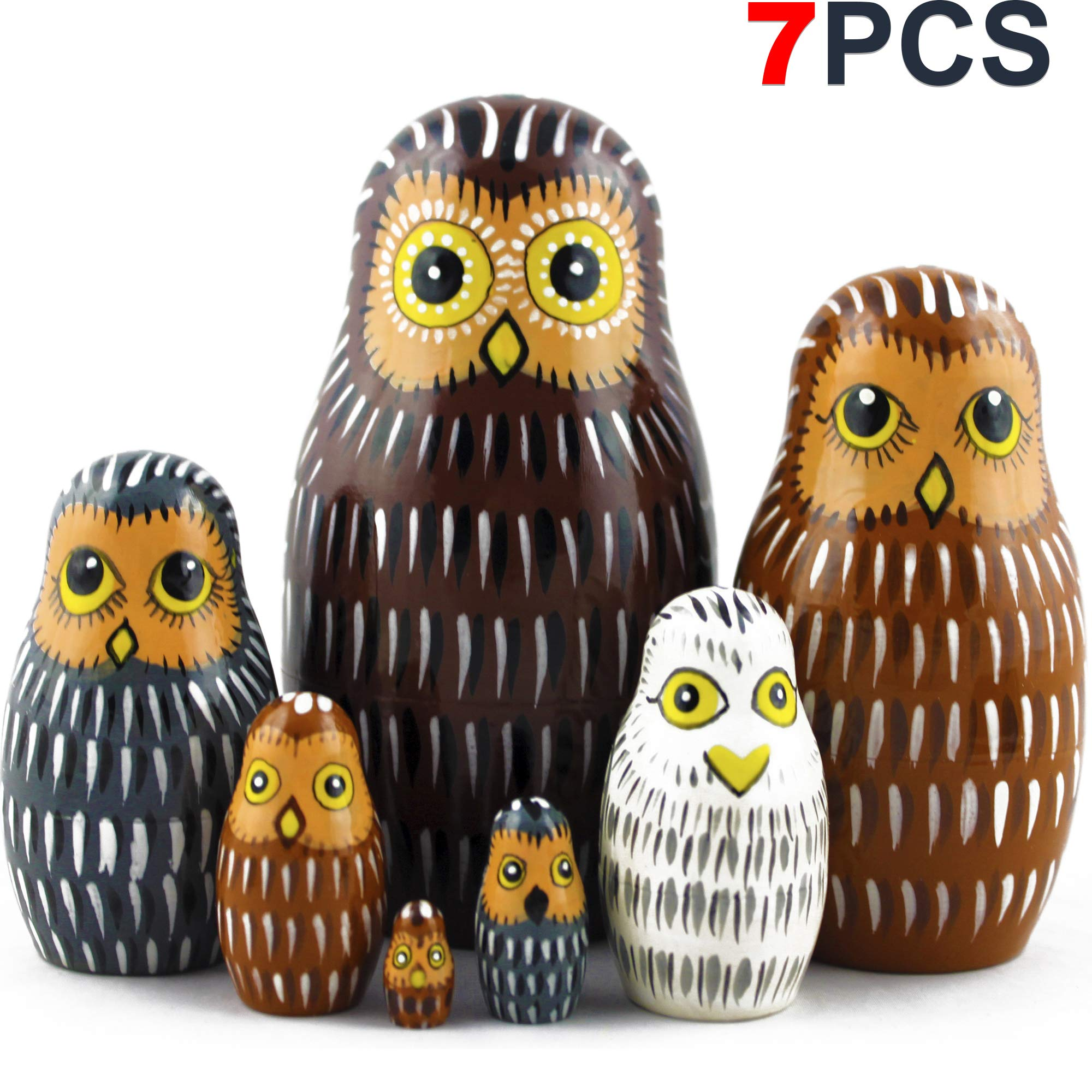 Owl Nesting Dolls - Owl Decor - Owl Gifts - Owl Toy - Matryoshka set 7 dolls by MATRYOSHKA&HANDICRAFT (Image #1)
