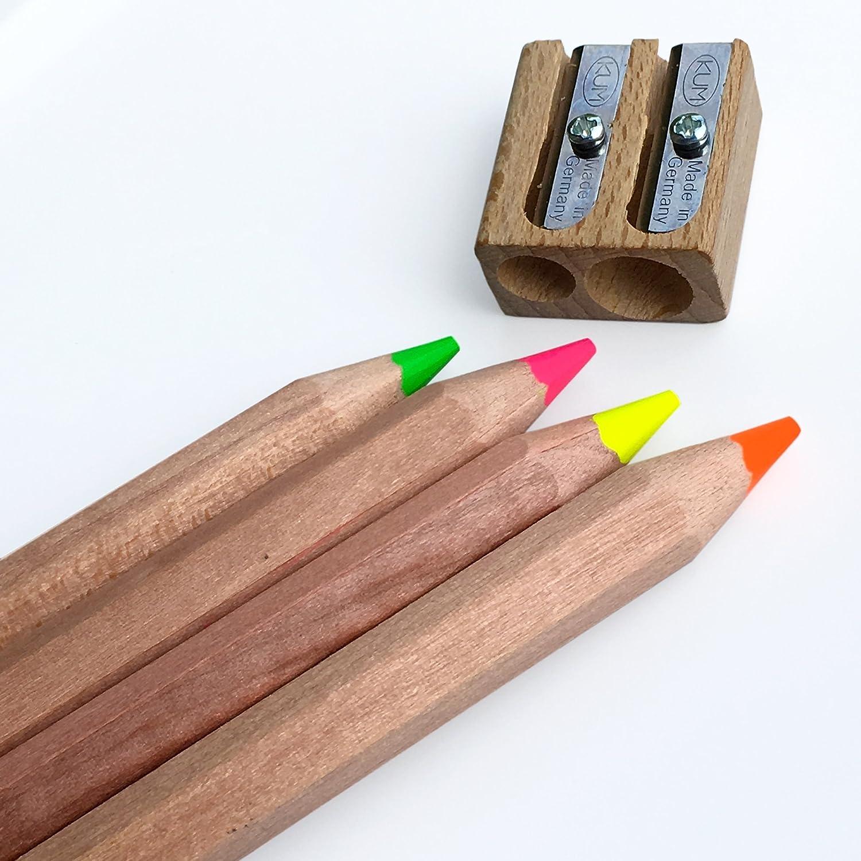 Jumbo Textmarker Bleistifte Set von 4 Neon Farben – inklusive Spitzer aus Holz