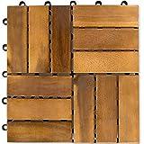 Stilista Lot de 111m² Dalles en bois d'acacia 30x 30x 2,4cm, huilé certifié TFT avec vis en acier galvanisé, système de connecteur