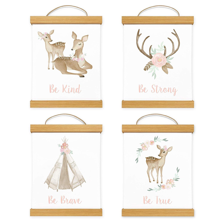 Framed Sweet Jojo Designs Blush Pink Mint Wall Art Prints Room Decor for Baby Nursery Kid for Boho Woodland Deer Floral Collection - Set of 4 Kind Strong Brave True With Wooden Hanging Magnetic Frames