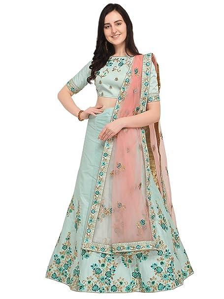 9f579663048 Aasvaa Sea Green Color Silk Embroidered Semi-Stitched Lehenga Choli  (NMMY16A786CGREEN)