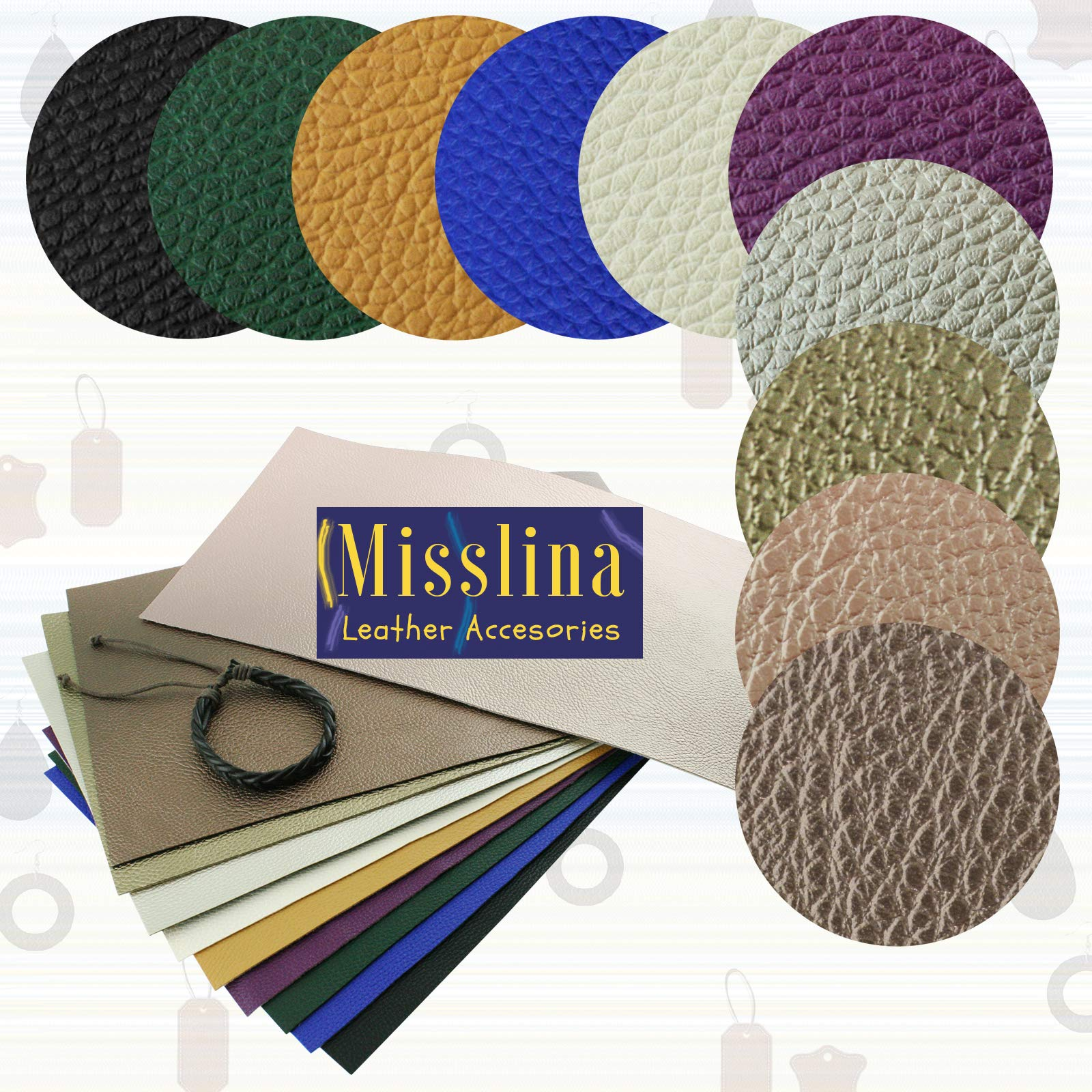 Faux Leather Sheets for Leathercraft Accesories with Cotton Fabric Back- 8'' x 13''(20 x 34 cm) Pack of 10 Faux Leather for Earring Making, Ribbon Bowls Crafts Making- 10 Colours of Faux Leather Sheets by MissLina Faux Leather Accesories (Image #8)