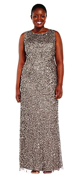 d06e5fdf183 Adrianna Papell Lead Sequin Beaded Halter Plus Size Formal Gown 16W at  Amazon Women s Clothing store