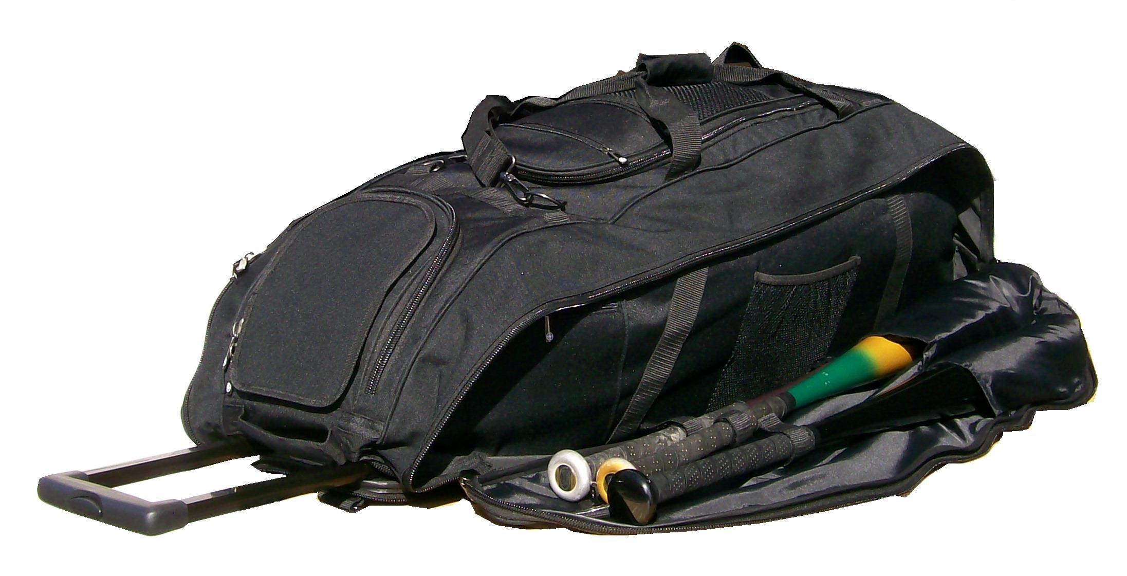 Catchers bag in Solid Black Cobra XL III Three wheels Softball Baseball Bat Equipment Roller Bag