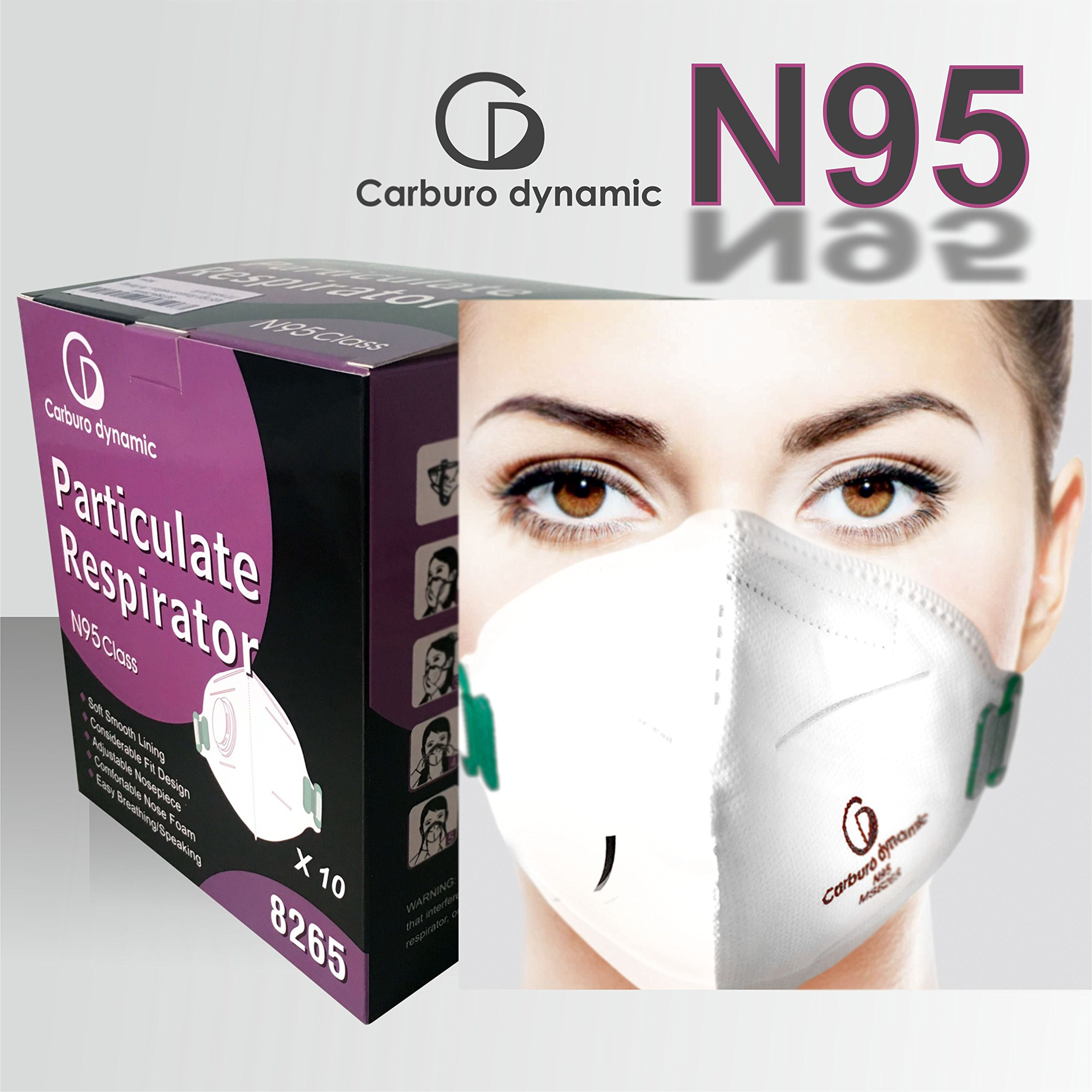 Dust mask, medical, construction, Particulate Respirator, Respiratory Protection, Anti Pollution, N95 high filtration, with valve >95% filtering (10 masks pack)