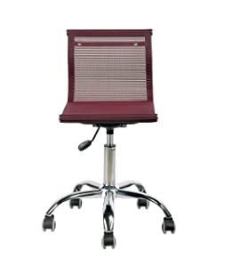 Bharat Furniture Pogo Compact Chair | Sleek Design with Strong Wired mesh for Study, Living Room and Office (Wine) Easy to Assemble.