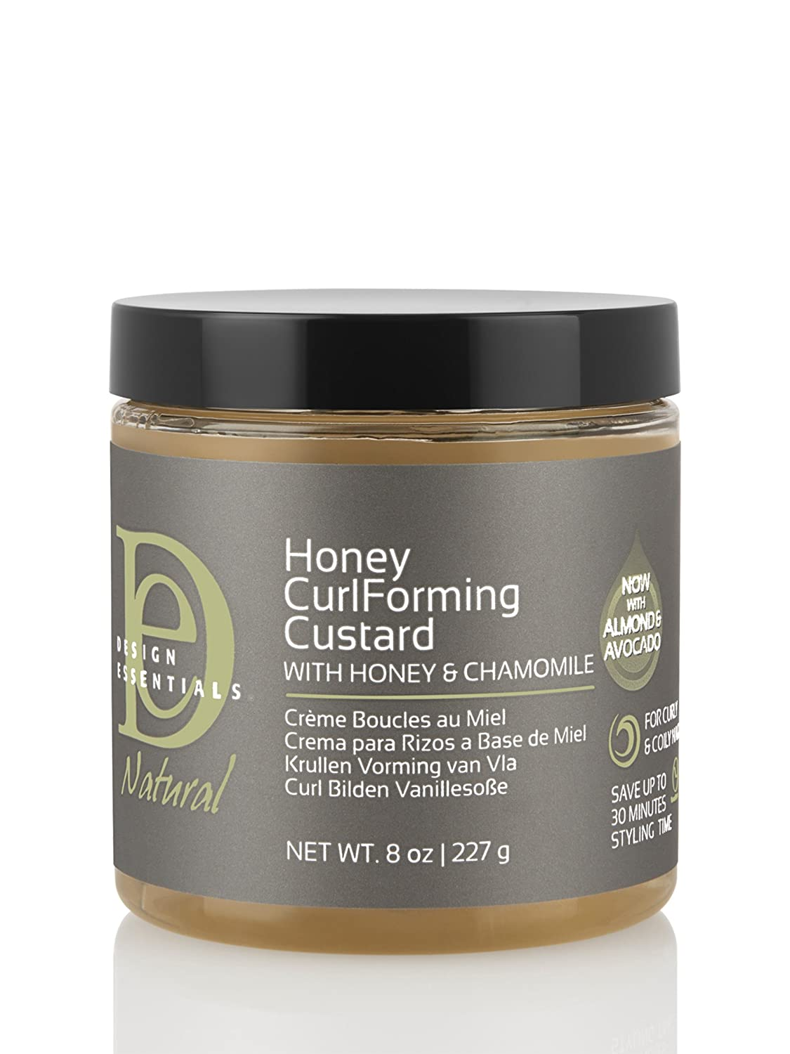 Design Essentials Natural Honey Curl Forming Custard infused with Almond, Avocado, Honey & Chamomile for Intense Shine, Medium Hold and Definition-8oz.