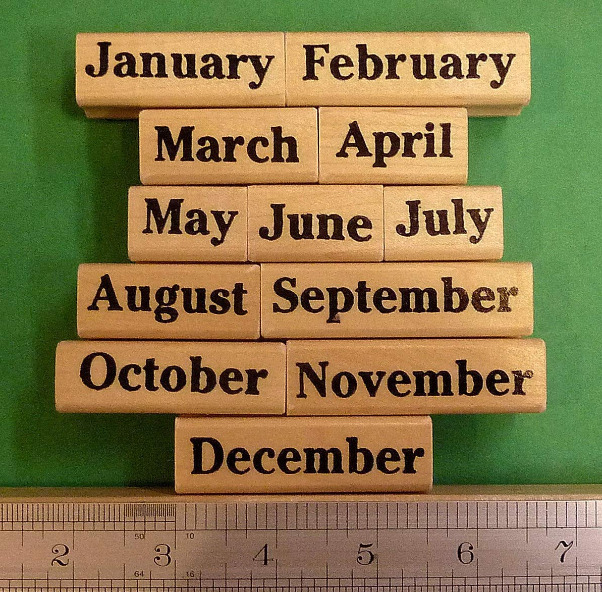 Months of The Year Rubber Stamp Set of 12, Wood Mounted Teacher's Set - Rubber Stamp Wood Carving Blocks by Wooden Stamps