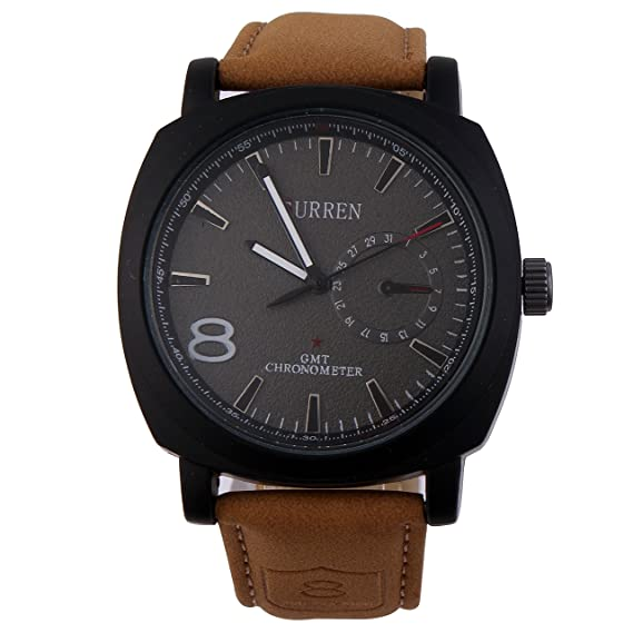 CURREN Reloj Casual de Hombre Cuarzo Dial Negro Correa De Piel Color Café #2: Amazon.es: Relojes