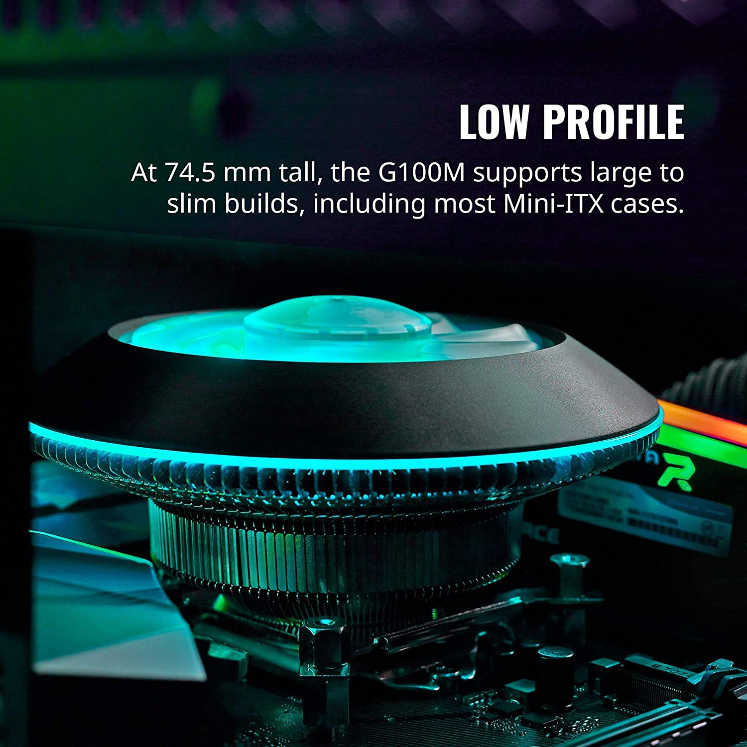 Renewed Cooler Master MAM-G1CN-924PC-R1 MasterAir G100M RGB Low Profile CPU Air Cooler Copper Heat Column Technology Ring and Fan