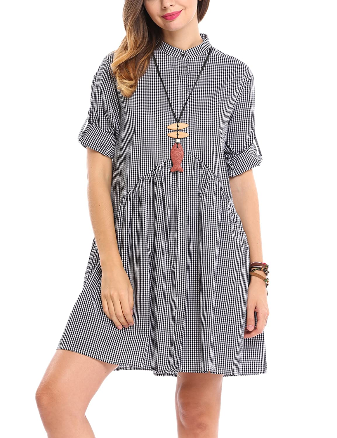 ACEVOG Women's Long Sleeve Plaid Button Down A-Line Shirt Dress