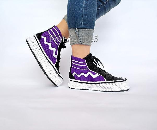 a9dc6ac79d8fb Amazon.com: Women Purple Slippers Soft Comfort Crochet Booties ...