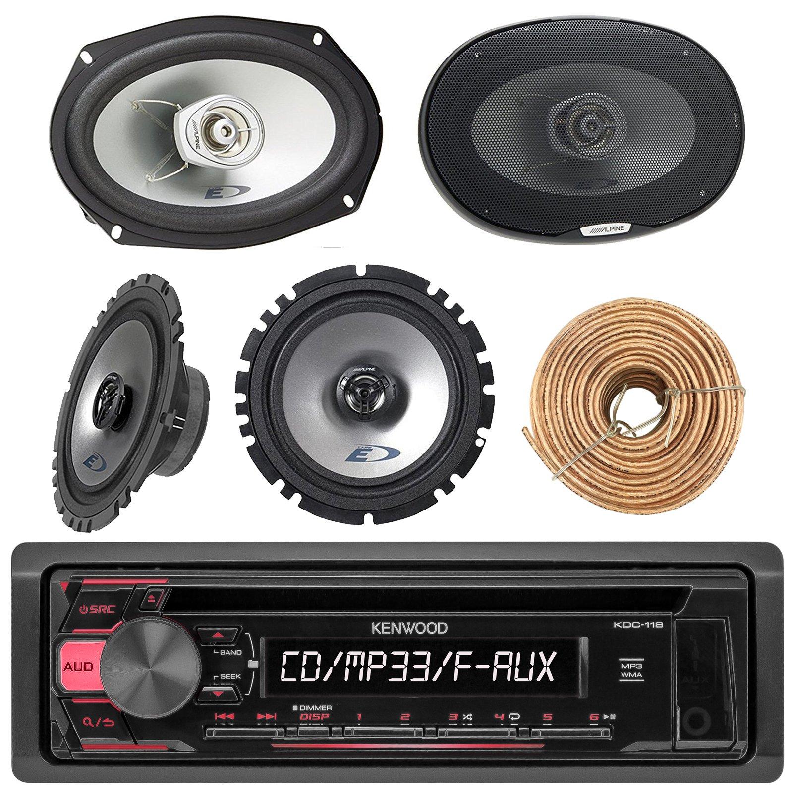 Kenwood KDC118 Car Radio AUX CD Player Receiver - Bundle Combo With 2x Alpine 6.5'' 80W 2-Way Coaxial Car Speakers + 2x 6x9 Inch 280W Black Speaker + Enrock 50 Ft 18G Speaker Wire
