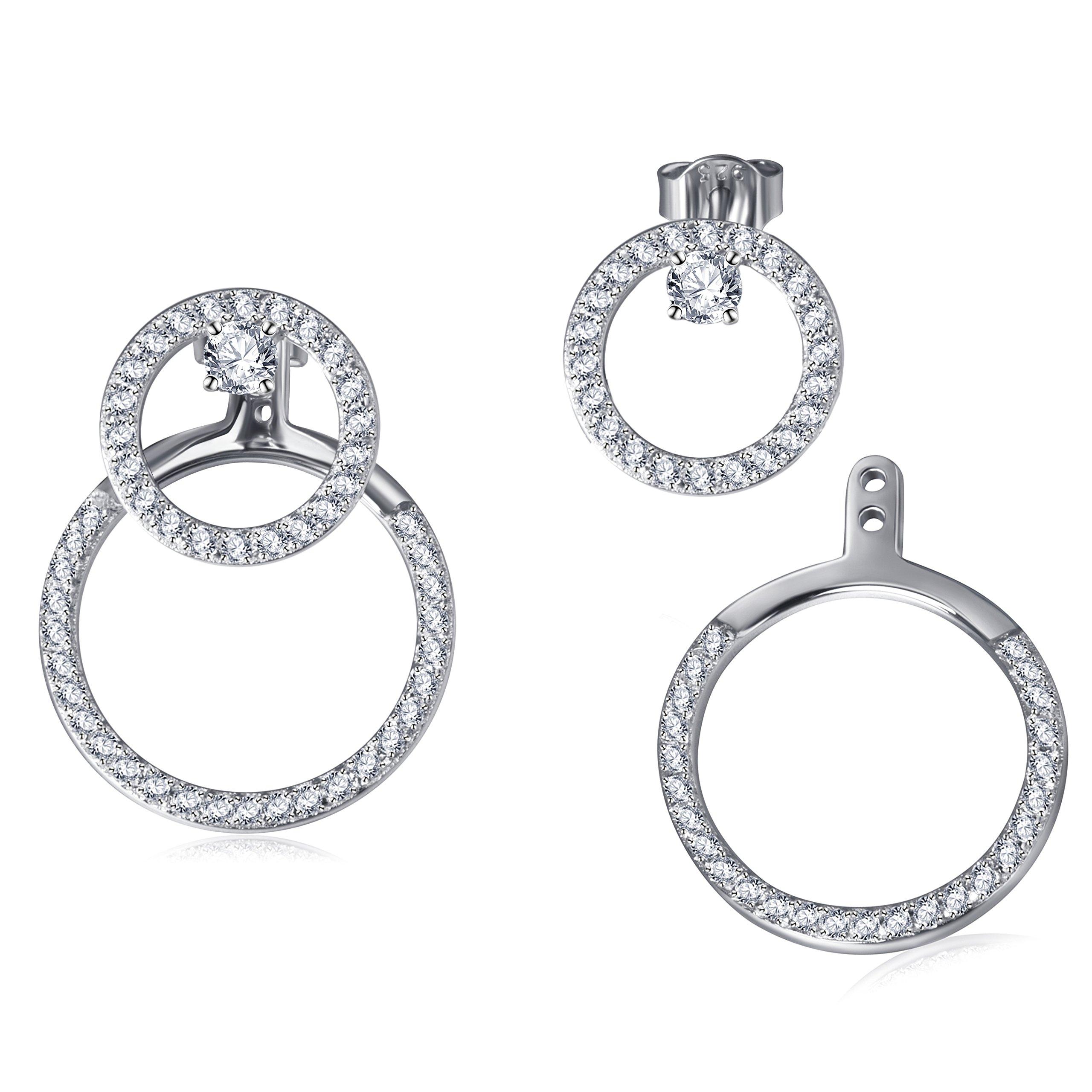 Fonsalette Round Circle Earrings Cubic Zirconia Front Back Stud Dangle Earrings Set (silver)