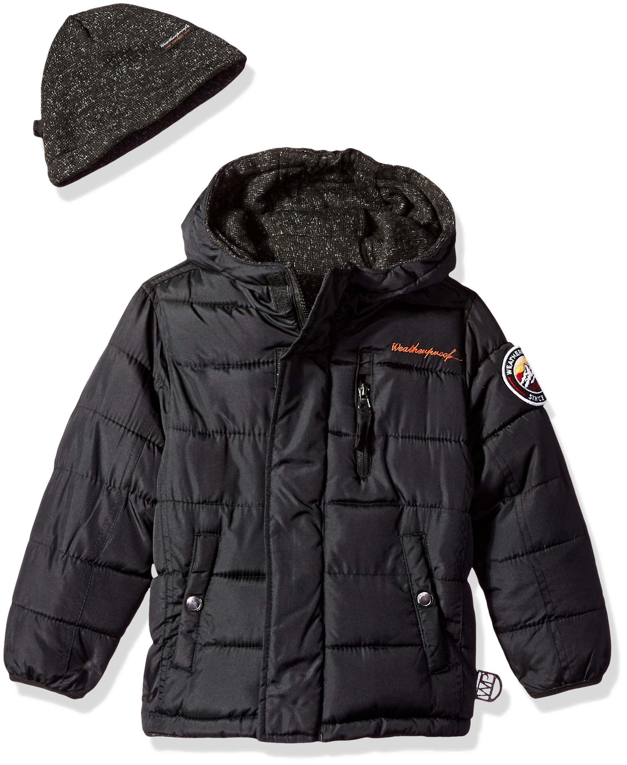 Weatherproof Boys Reversible to Sweater Fleece Jacket, Black, 14/16