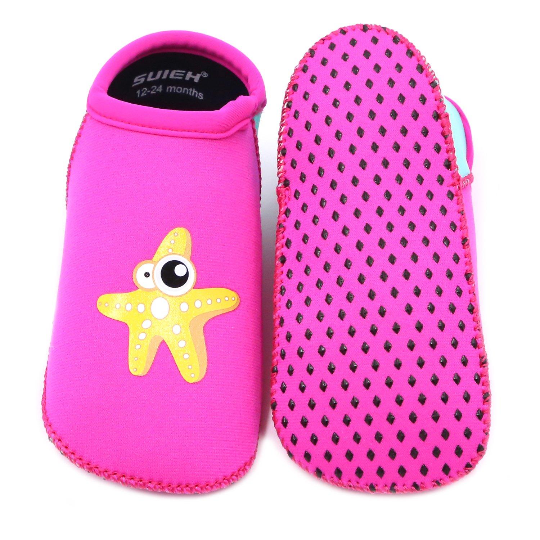 SUIEK Uni Baby Infant Swim Shoes Water Shoes Beach Shoes Rose