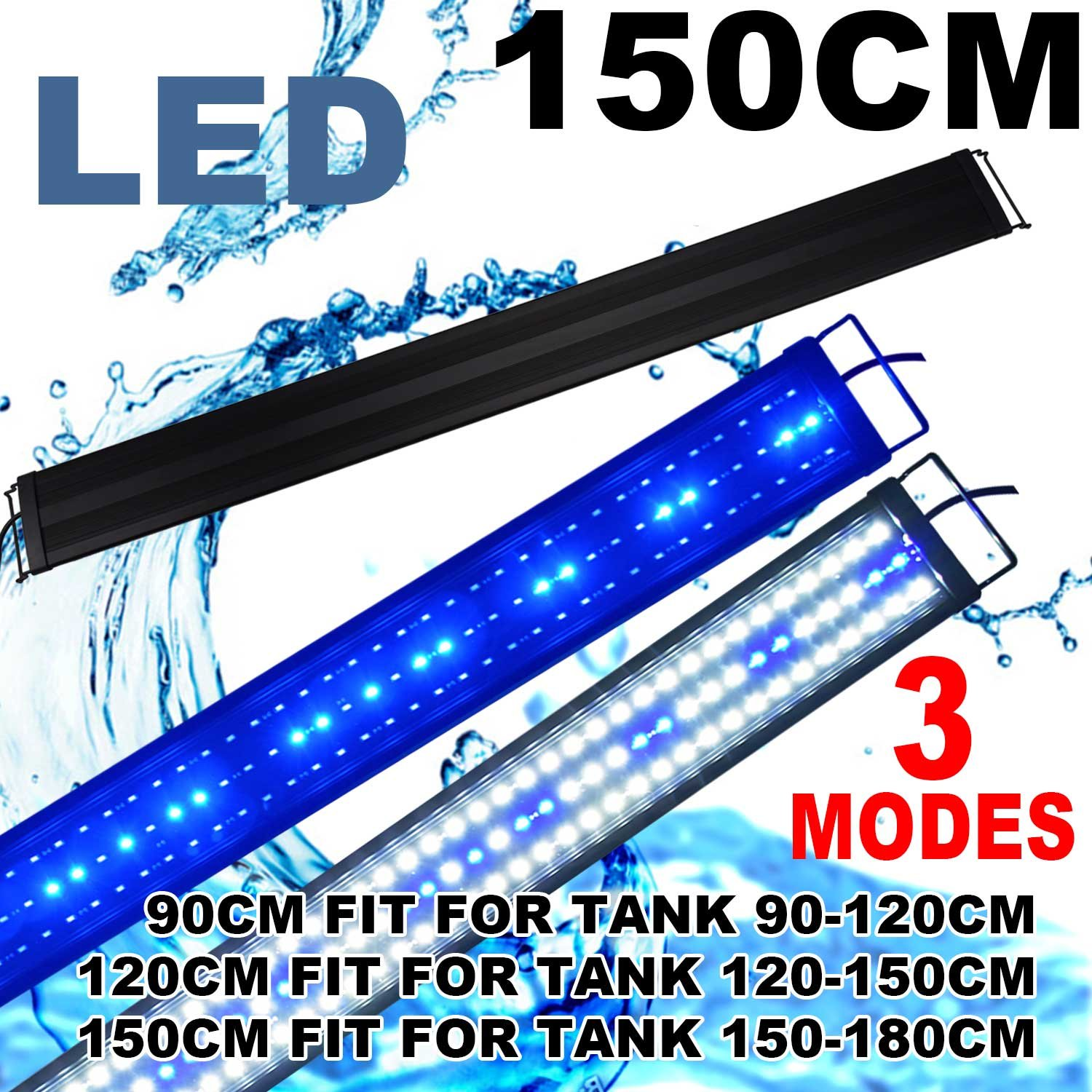 bluee and White 60-72 inch KZKR LED Aquarium Hood Lighting 60-72 inch Fish Tank Light Lamp for Freshwater Saltwater Marine bluee and White Decorations Light 5-6ft 150cm 180cm (36W)