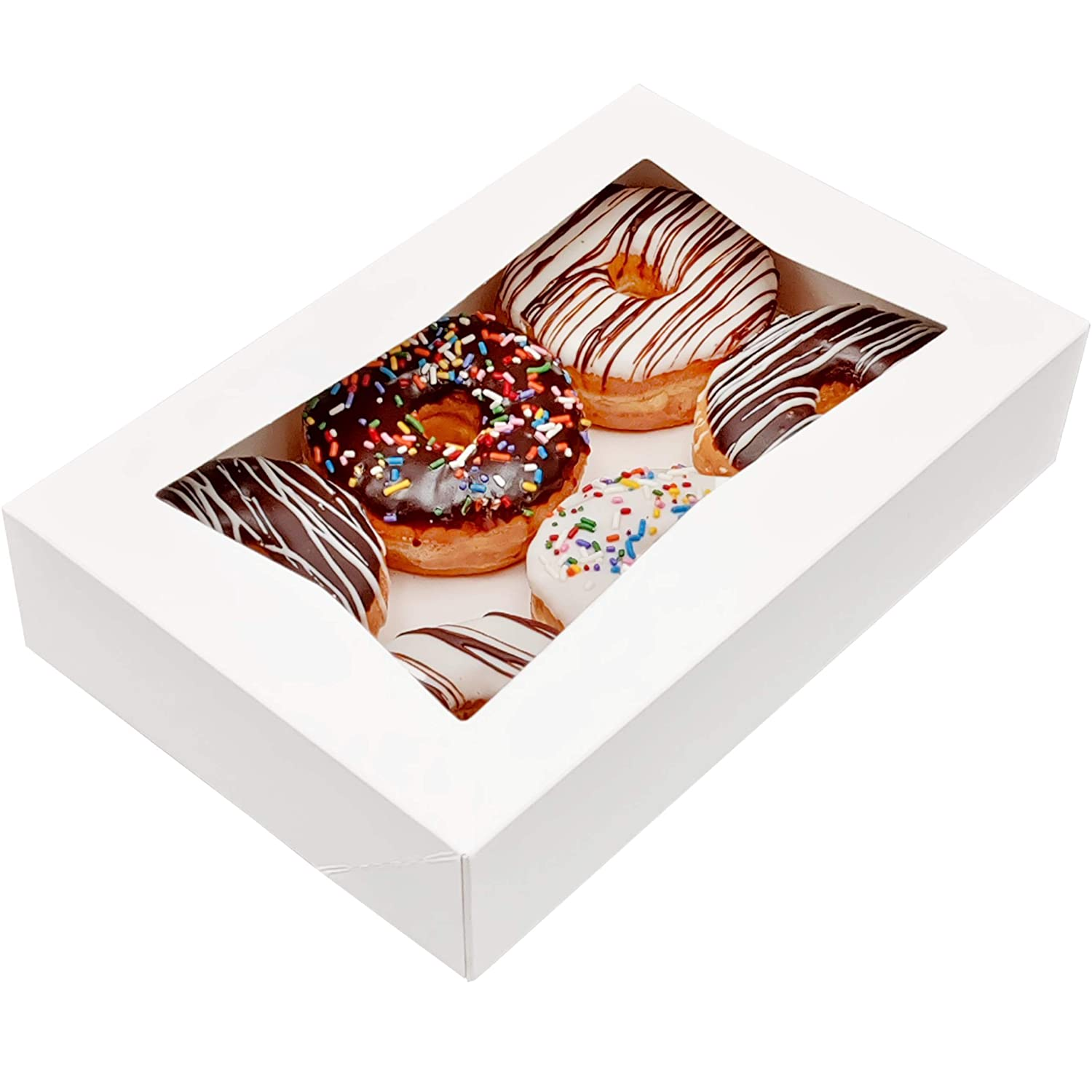 BakeLuv White Bakery Boxes with Window   12x8x2.5 Inches   12 Pack   Dessert Boxes   Pastry Boxes   Cookie Boxes   Donut Boxes   Brownies, Chocolate Strawberries, Cake, Muffins, Treats  Thick & Sturdy 350 GSM   Auto-Popup