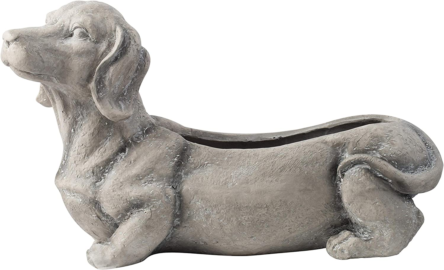 A & B Home Gray Cement Sitting Dog Planter - Indoor and Outdoor Décor, Dachshund Weiner Dog Design, Herb Garden Succulents and Flower Pot, Cute Décor Size 25''x9''x15''