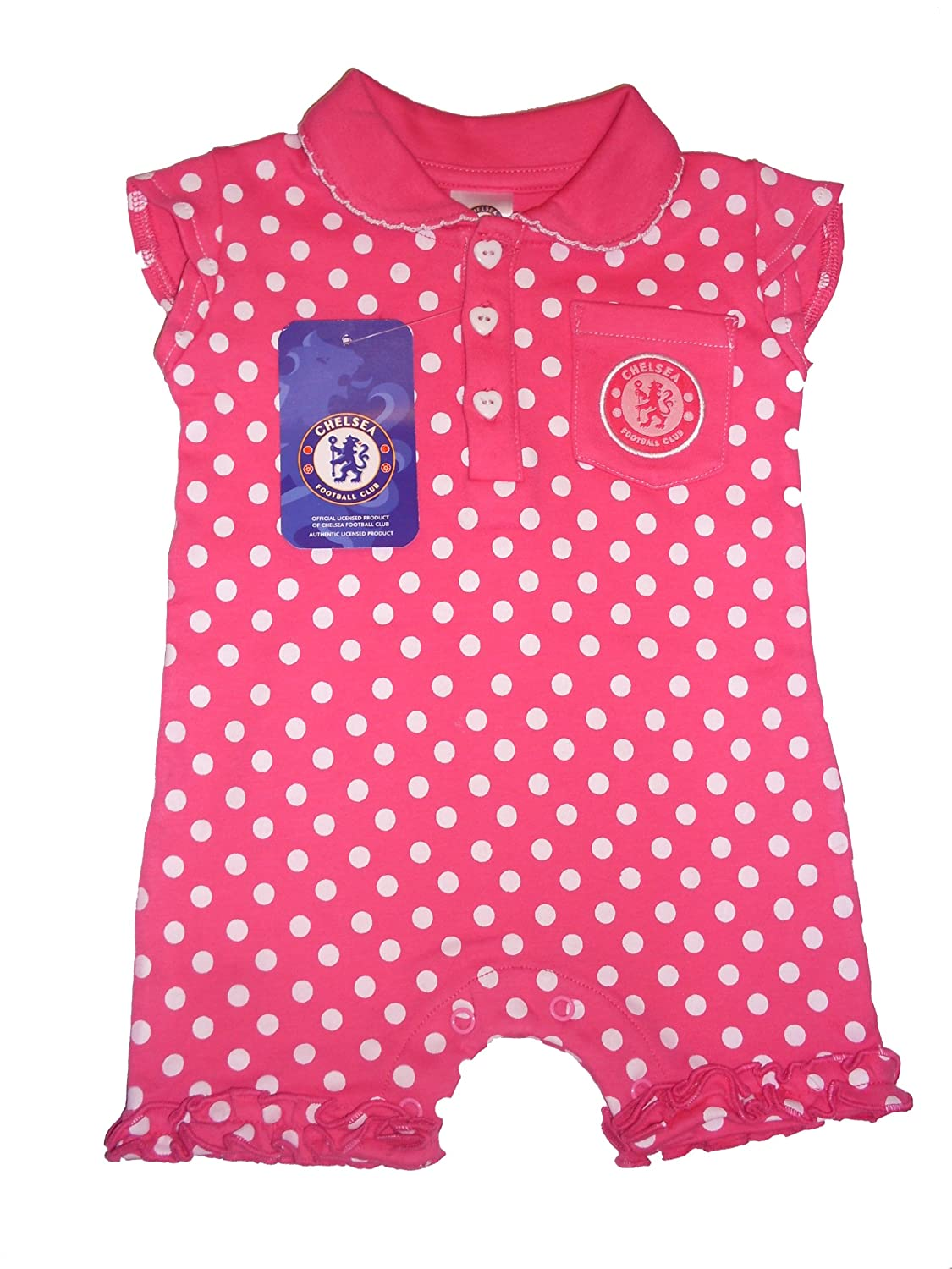 1b4b37d2d Chelsea Football Club Baby Girl s Spotty Romper Pink and White 0 - 3 ...