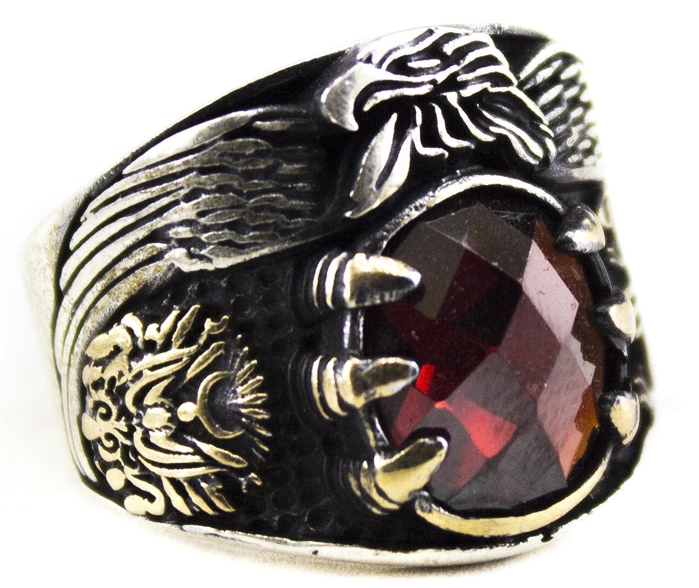 Men's sterling silver ring garnet stone eagle, EXPRESS SHIPMENT