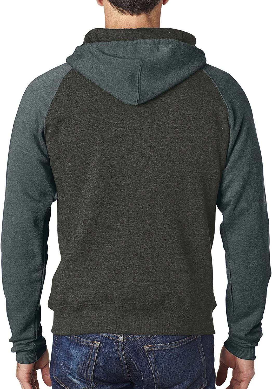 JA8874 J America Mens Tri-Blend Color Block Full-Zip Hooded Fleece