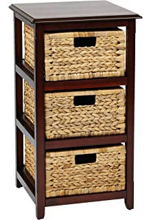 Office Star Seabrook 3 Tier Storage Unit With Natural Baskets, Espresso  Finish