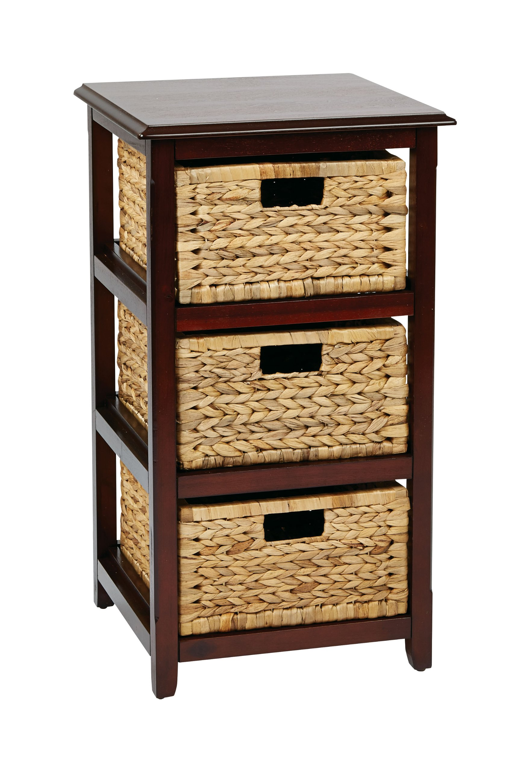 Office Star Seabrook 3-Tier Storage Unit with Natural Baskets, Espresso Finish