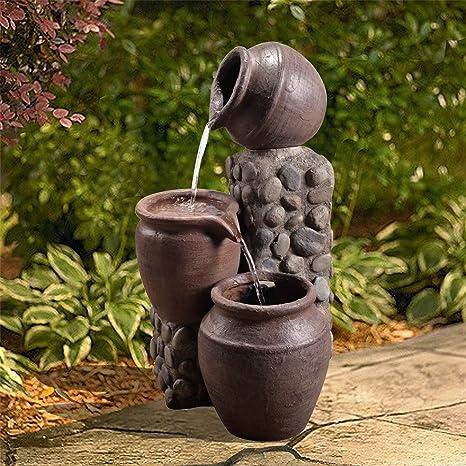 Fontaine Exterieur Jardin Decoration Chute D Eau Cascade 3 Amphores