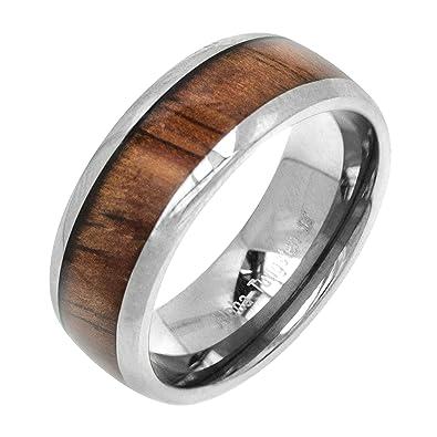 Amazoncom Tungsten Koa Wood 8mm Ring Wedding Bands Jewelry