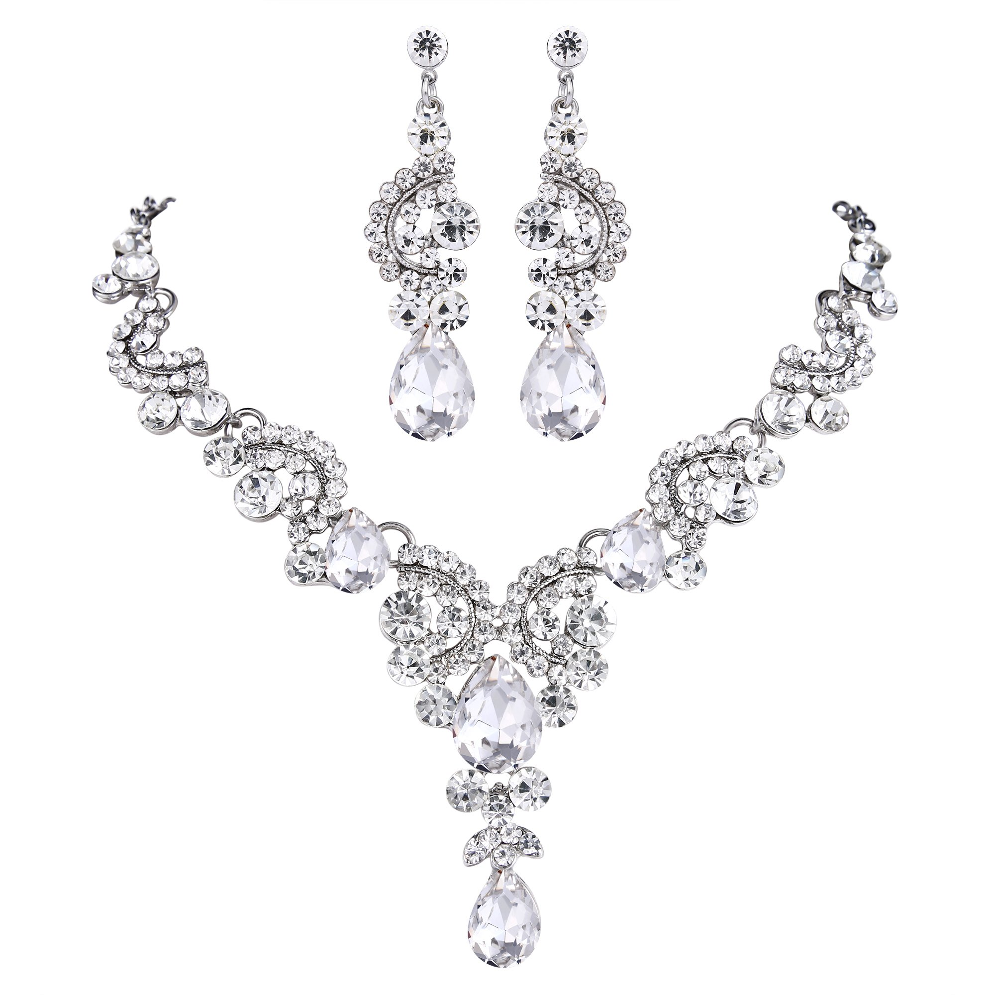 EVER FAITH Rhinestone Crystal Bridal Floral Wave Teardrop Necklace Earrings Set Clear Silver-Tone