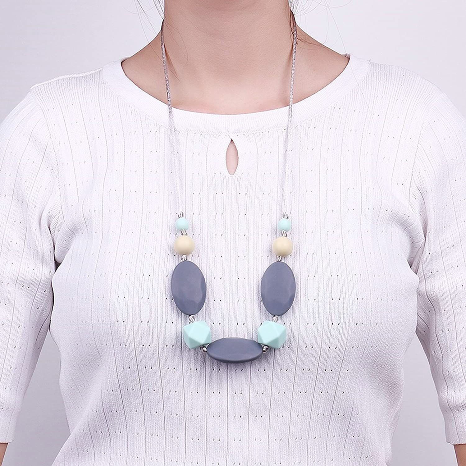 KnSam Silicone Teething Necklace for Women and Baby Oval Irregular Cube Color Chain Length 80CM