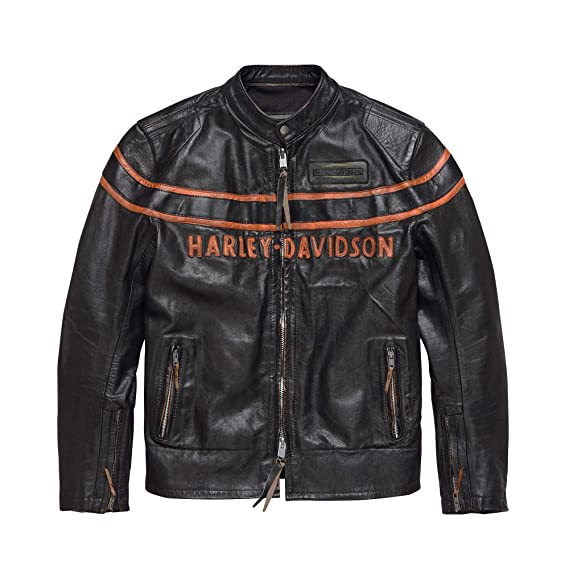 HARLEY-DAVIDSON Official Mens Double Ton Slim Fit Leather Jacket, Black