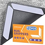 ZONGOOL 12 PCS Rug Grippers, Washable Rug Grippers for Hardwood Floor, Double Sided Non-Slip Carpet Gripper, Reusable Durable