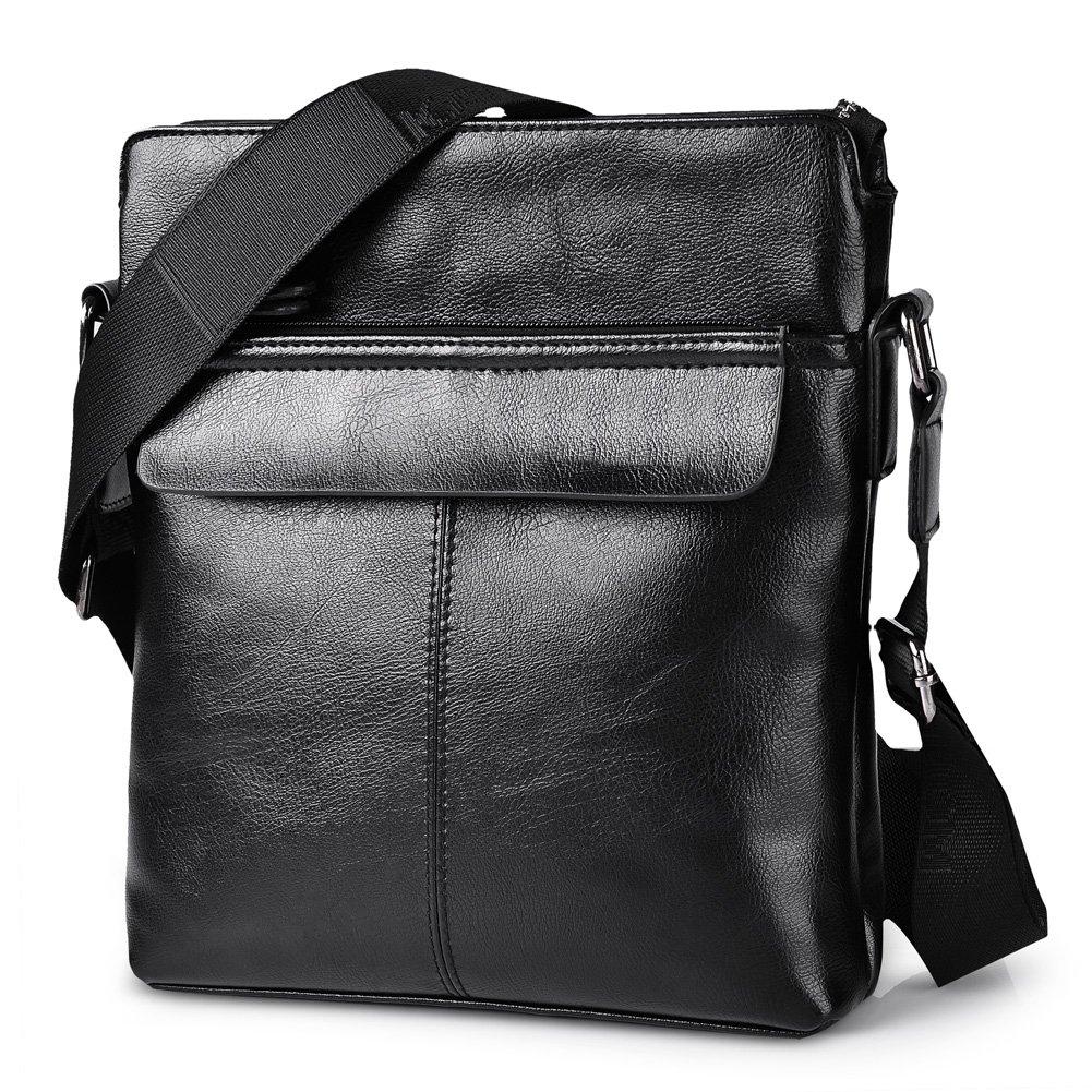 Vbiger Men's Shoulder Bag Cross Body Messenger Bag Pu Leather Business Briefcase (Black)