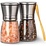 Professional Salt and Pepper Grinder Set – Premium Stainless Steel Salt and Pepper Shakers with Ceramic Spice Grinder Mill for Adjustable Coarseness - Added Bonus a Bamboo spoon and a Cleaning Brush.