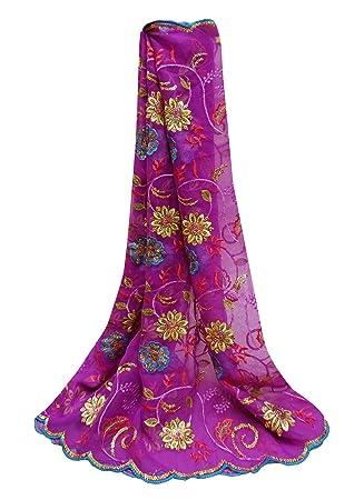 PEEGLI Tradicional Diseñador Envolver Púrpura Indian Vintage Dupatta Georgette Mezcla Sewing DIY Tela Bordado Floral Mujer