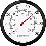 """12"""" Steel Enclosure Decorative Indoor / Outdoor Patio Wall Thermometer (Black)"""