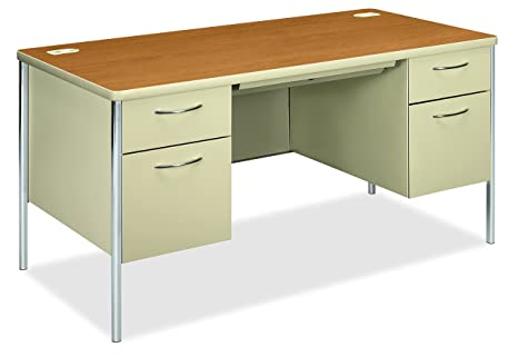 Hon 88962cl Mentor Series Double Pedestal Desk 60w X 30d X 29 1 2h Harvest Putty Harvest Putty